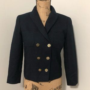{Ann Taylor} Navy Double Breasted Blazer